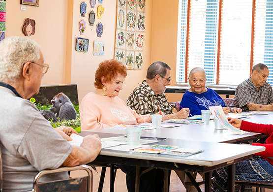 Residents at on-site Community Center