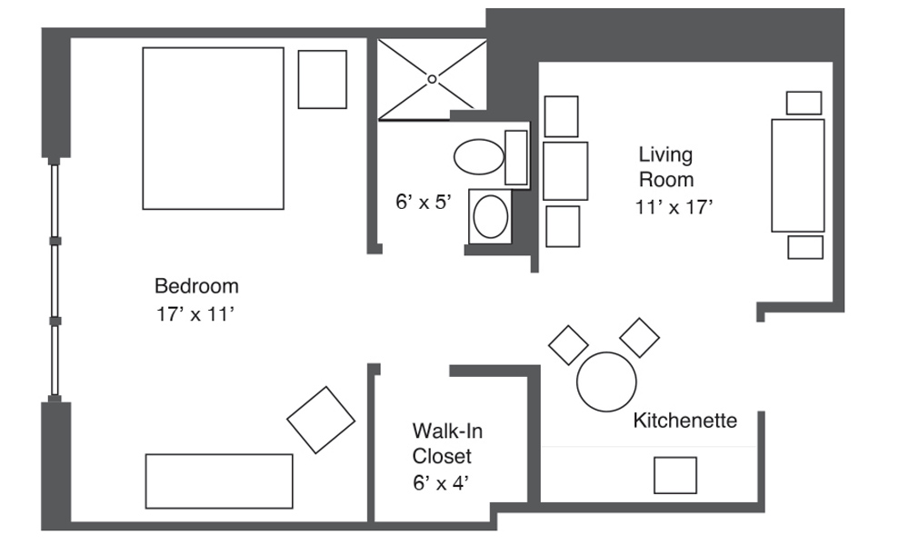 Plan A One-Bedroom Apartment layout
