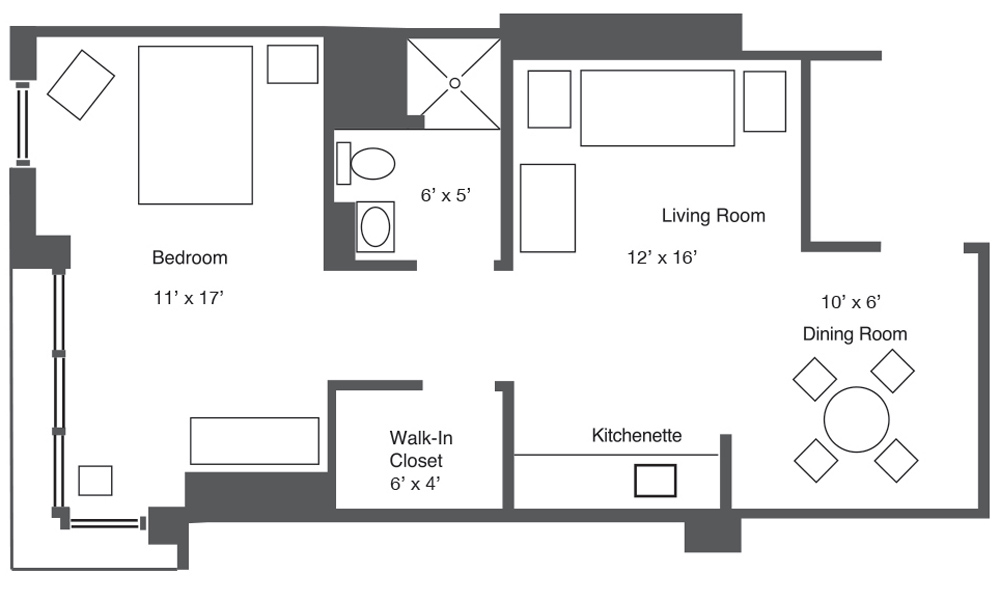 Plan B One-Bedroom Apartment layout