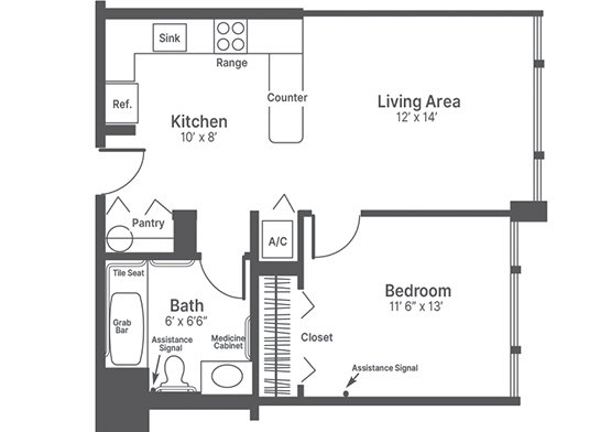 One-Bedroom Apartment layout